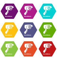 surveillance icons set 9 vector image