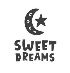 Sweet dreams scandinavian style kids phrase vector