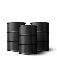 Three Realistic Black Metal of Oil Barrels vector image