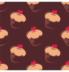 Tile pattern brown background with cupcakes vector