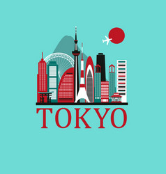 tokyo travel background vector image vector image