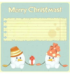 Two snowmen and place for greetings vector image