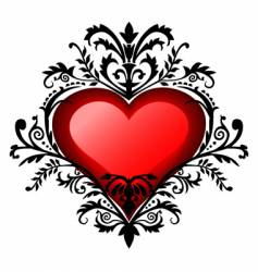 Valentine's day baroque heart vector
