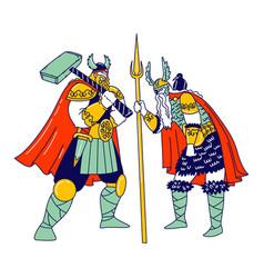 viking characters wearing scandinavian dressing vector image