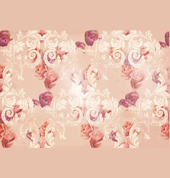 Vintage rose flowers and baroque ornaments pattern vector