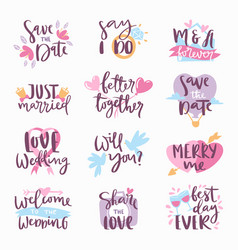 Wedding day calligraphy lettering handmade vector
