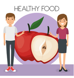 young couple with apples healthy food vector image