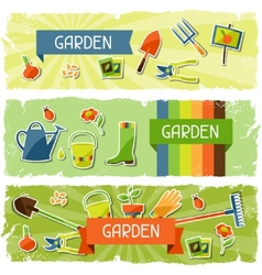 Banners with garden sticker design elements and vector image vector image