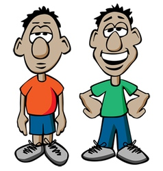 Cartoon Males with Happy and Sad Expressions vector image vector image