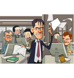 cartoon office full of people working at computers vector image vector image