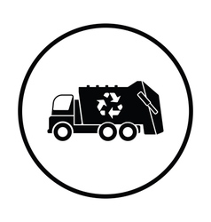 Garbage car with recycle icon vector image vector image