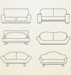 Icon set of Sofas Thin line style vector image