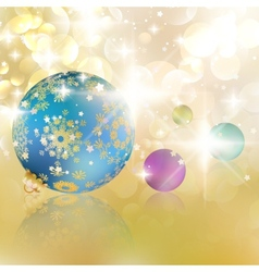 Christmas balls on abstract golden lights vector image vector image