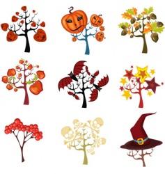 Halloween tree set vector image vector image