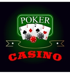 Poker symbol with playing cards and gambling chips vector image vector image