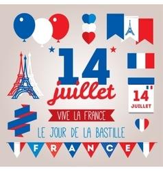Set design elements for The Bastille Day 14 july vector image vector image