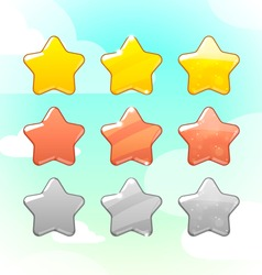 Set of Golden Silver and Bronze Stars GUI vector image