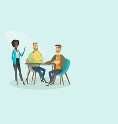 young multiracial business people during meeting vector image vector image