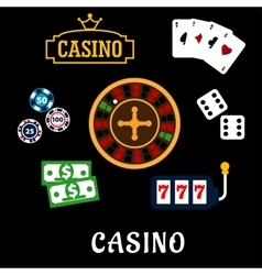 Casino flat icons with gambling symbols vector image