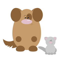 Dog and cat sad vector