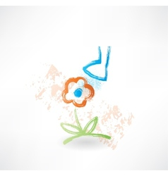 Flower grunge icon vector image vector image