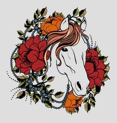Horse tattoo 2 vector image vector image