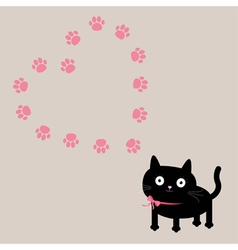 Cat and paw print heart frame template Flat design vector image vector image