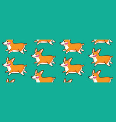 corgi seamless pattern funny background with vector image