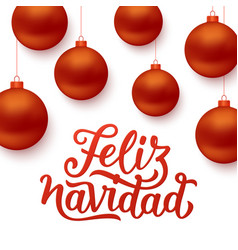 Feliz navidad background with red christmas balls vector