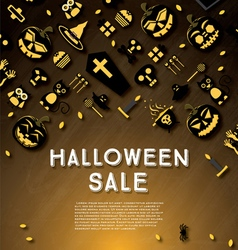 Halloween sale banner with pumpkin vector image