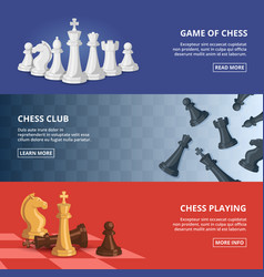 horizontal banners set with of chess vector image