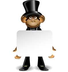 monkey in a top hat with white background vector image vector image