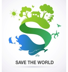 Save the world - nature and ecology background vector image vector image