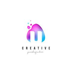 u letter dots logo design with oval shape vector image vector image
