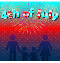 4th july family fireworks vector image