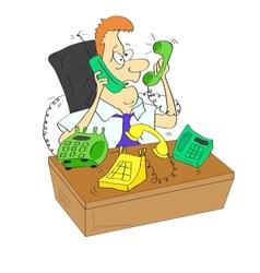 A businessman is torn between phones vector