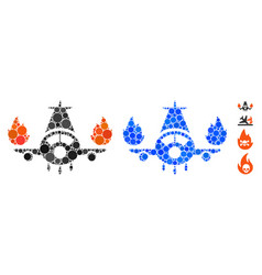Airplane engines burn composition icon circles vector