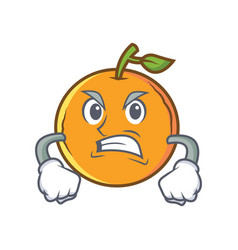 Angry orange fruit cartoon character vector