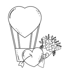 balloon air hot with heart shape and flower vector image