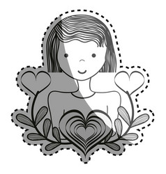 Beautiful woman smile with heart branches vector