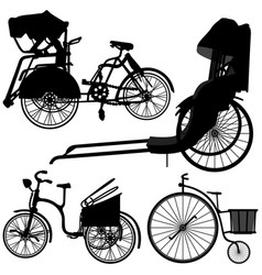 bicycle trishaw tricycle old wheel a set of vector image