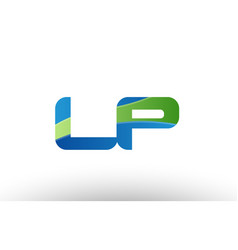 Blue green lp l p alphabet letter logo vector