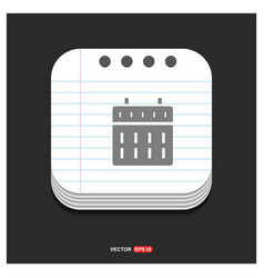 calendar web icon gray icon on notepad style vector image