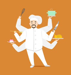 cartoon character multitasking chef cooking vector image