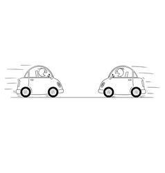cartoon drawing od two cars driving against each vector image