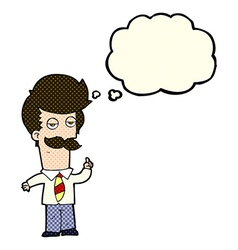 Cartoon man with mustache explaining with thought vector