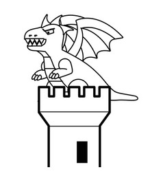 castle tower and dragon design vector image