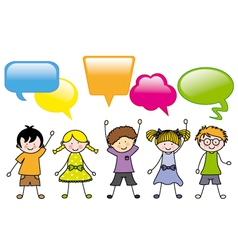 Children in group dialogues boxes vector