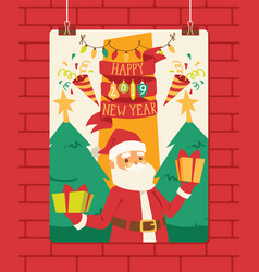 christmas 2019 happy new year greeting card santa vector image