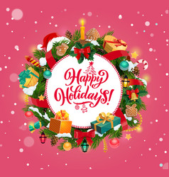 christmas wreath xmas tree gifts and presents vector image